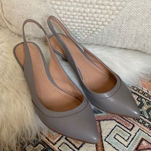 Brooks Brothers Dove Gray Leather Slingback Heels
